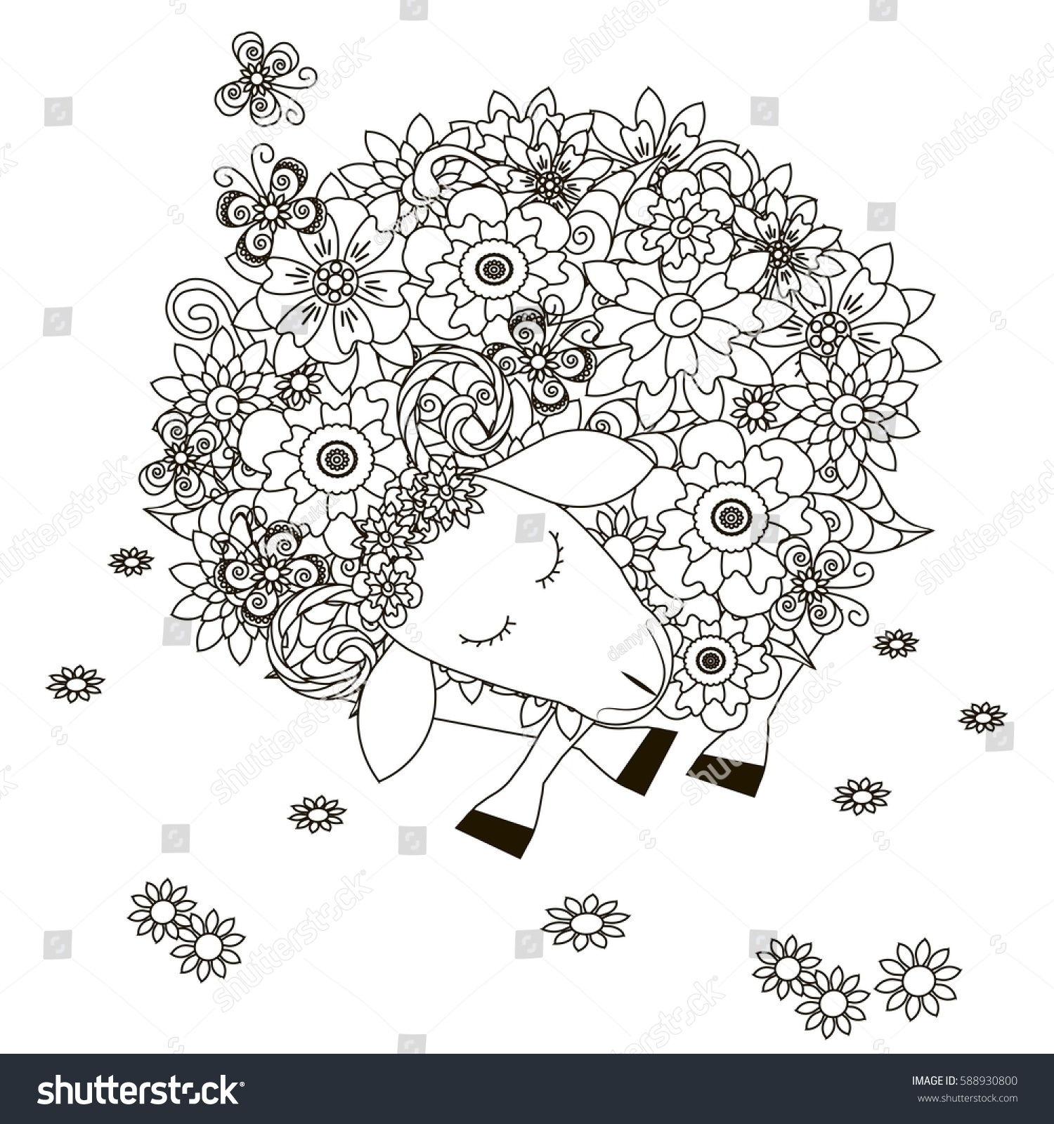 Flowers Sheep, Coloring Page Anti Stress Vector Illustration