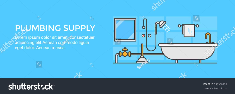 Plumbing Supplies Bathroom Vanities Bathtub Shower Stock Vector ...