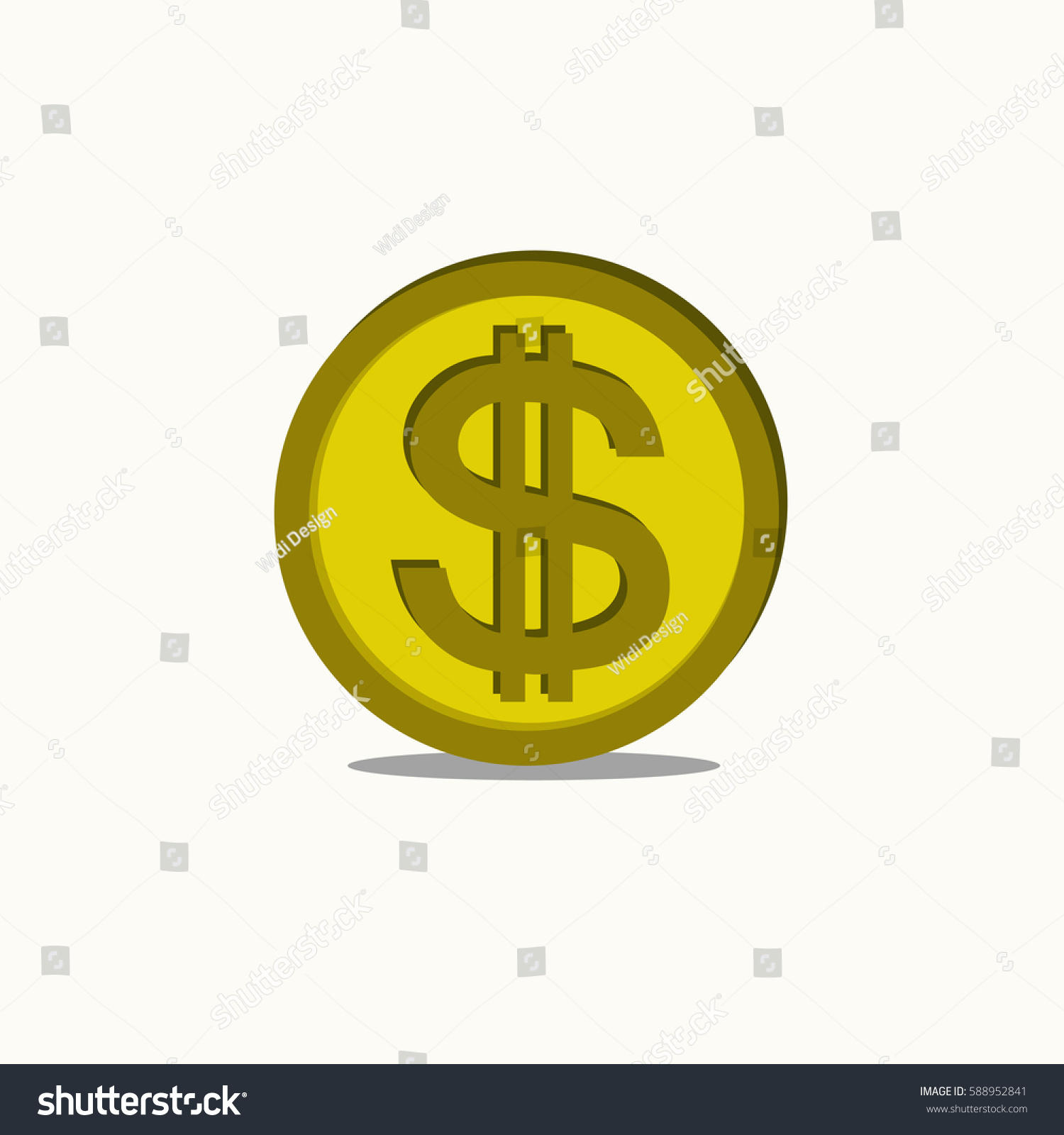Dollar Coin Flat Design Icon Logo Stock Vector 588952841 ...