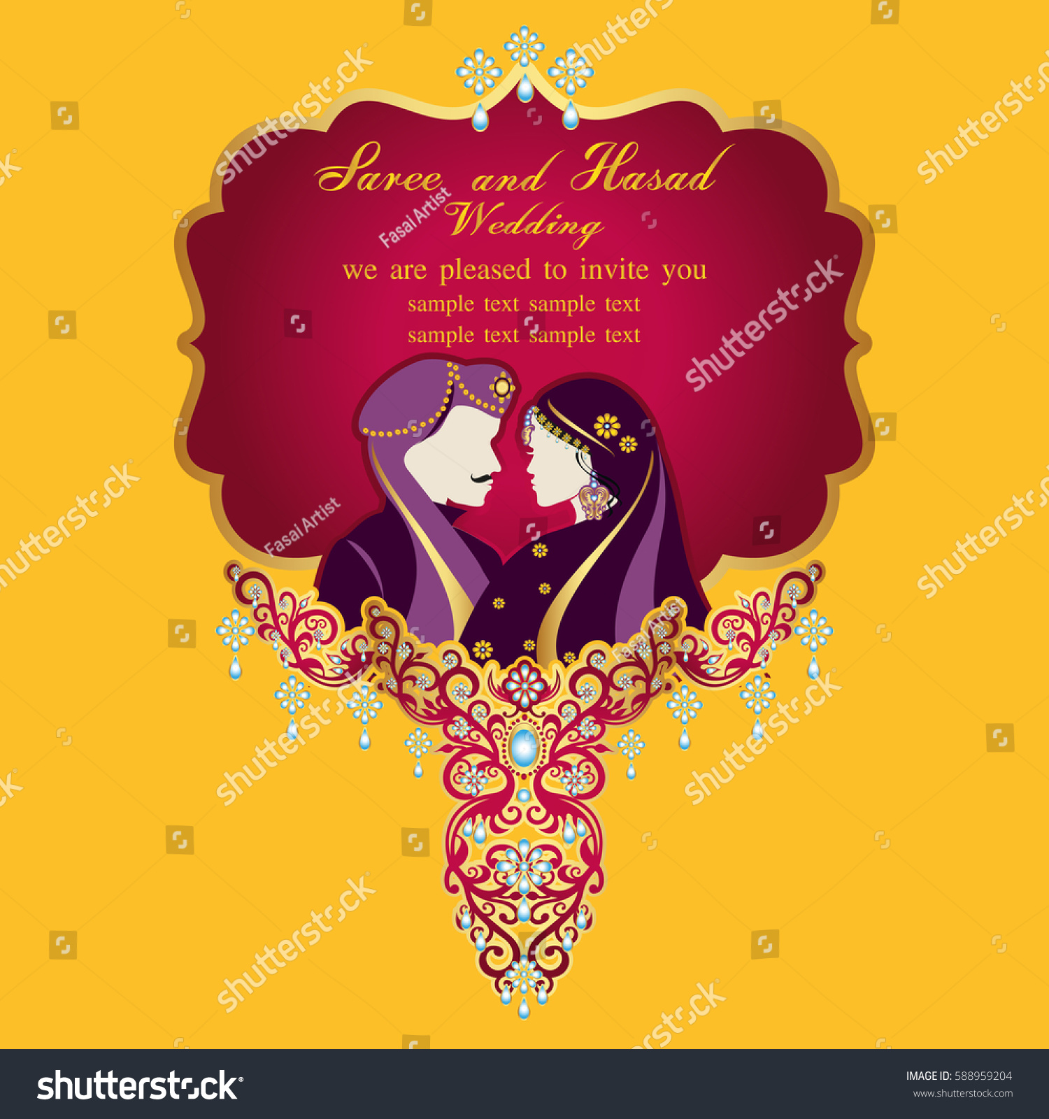 Indian Wedding Invitation Card Abstract Background Stock Vector ...