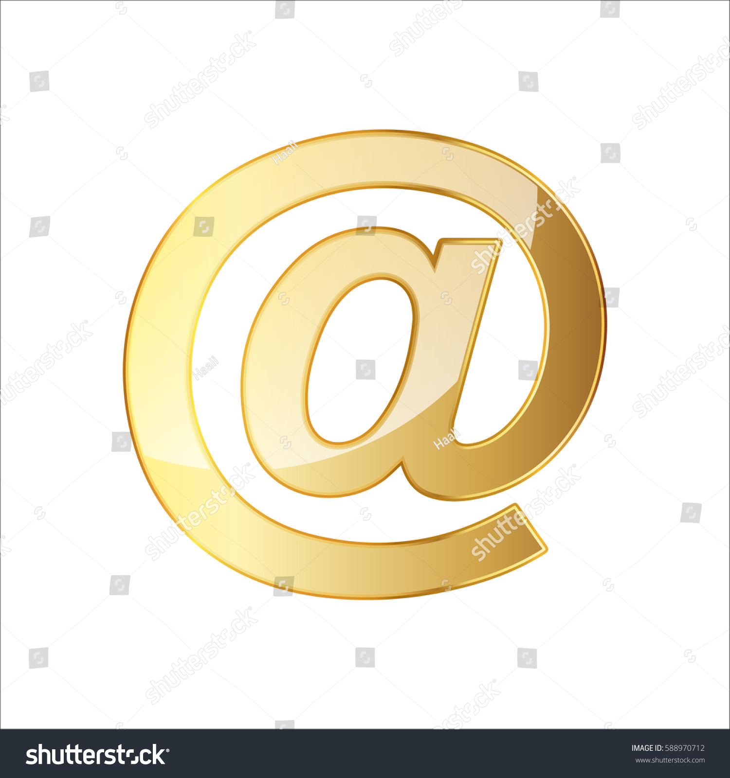 Golden Email Icon Vector Illustration Golden Email Symbol Isolated