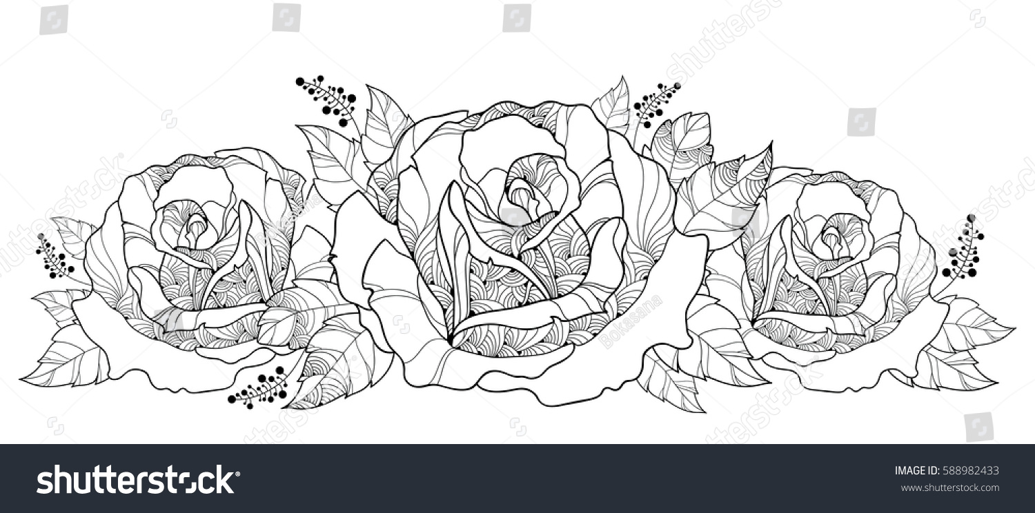 Vector Drawing With Bouquet Of Outline Rose Flower Isolated On White Background Floral Elements