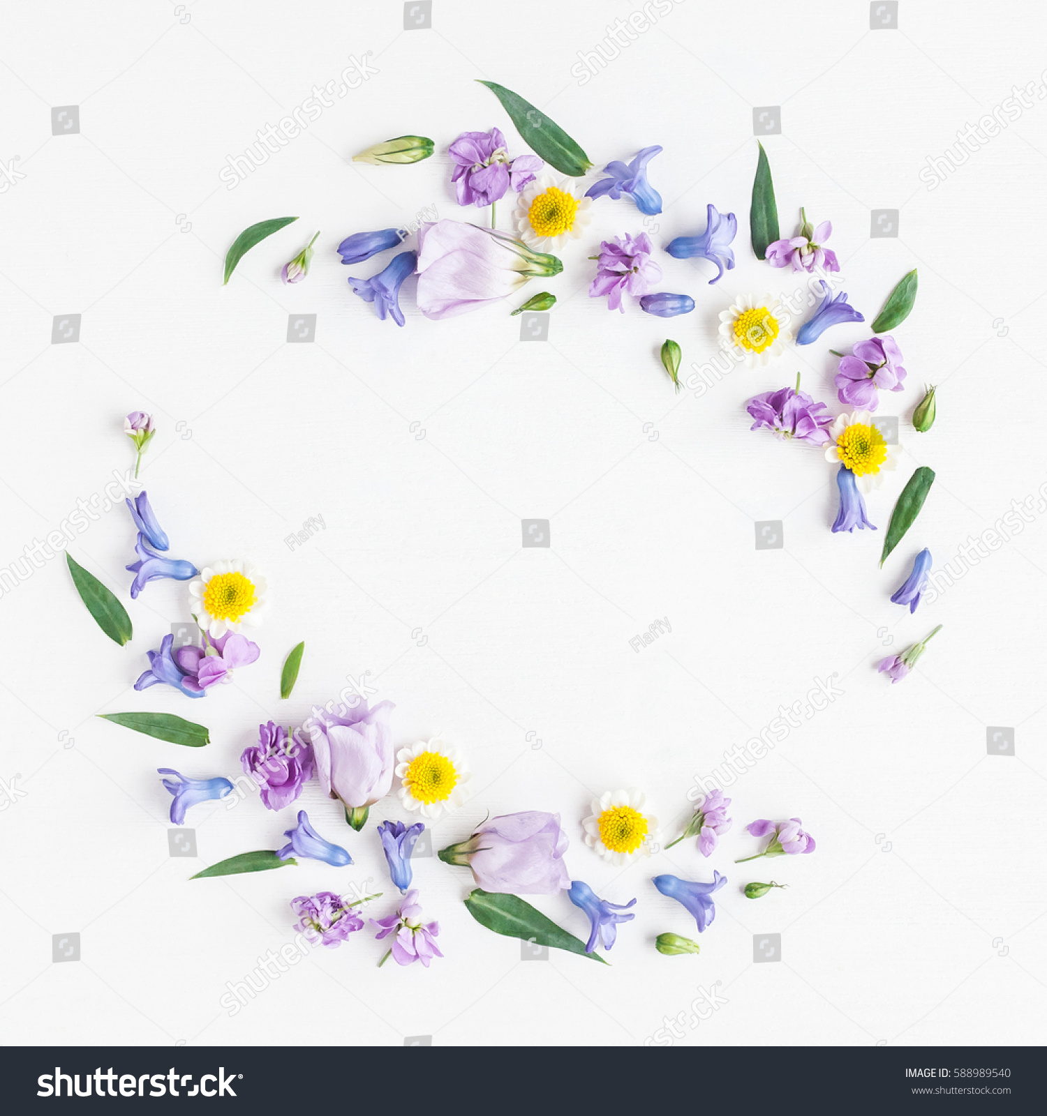 Flowers Composition Wreath Made Various Colorful Stock