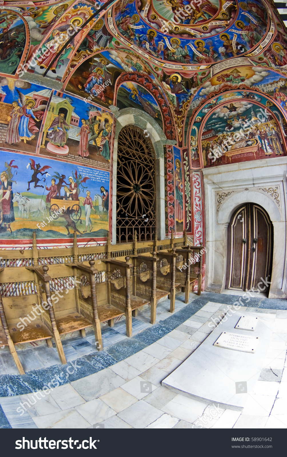 Christian murals rila monastery bulgaria stock photo for Christian mural