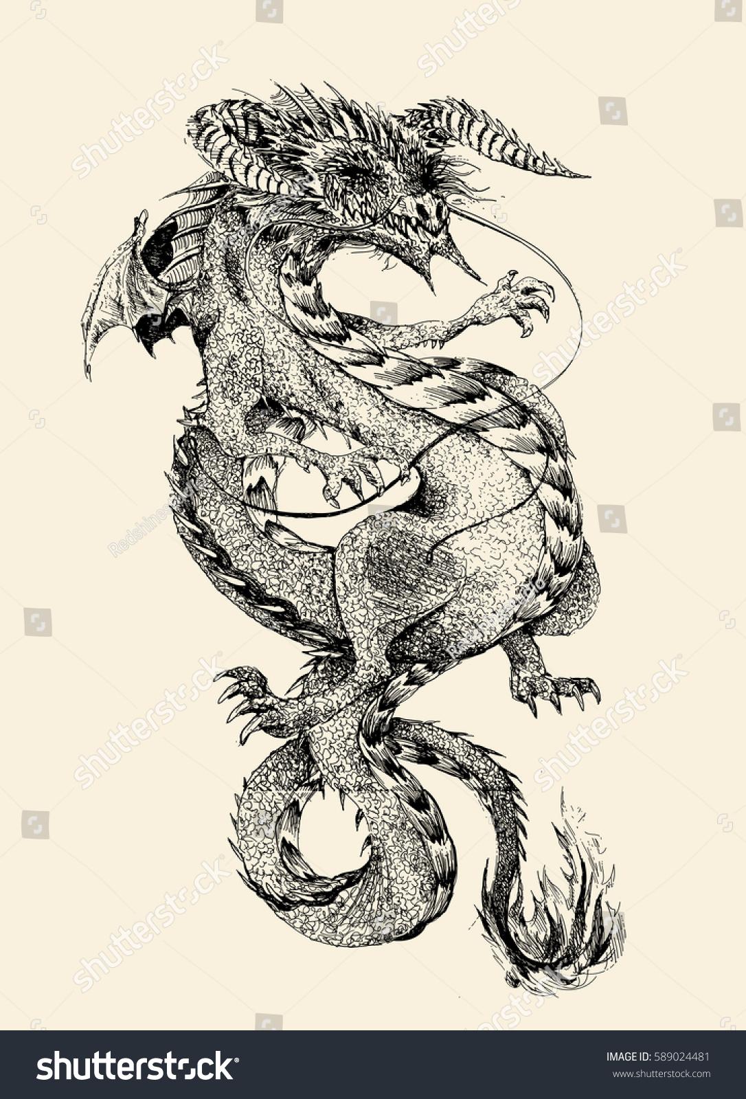 Illustration hand draw dragon vector illustration stock vector illustration of hand draw dragon vector illustration ccuart Images