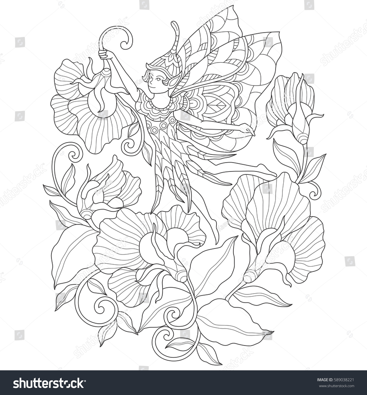 fairy flower garden zentangle stylized cartoon stock vector
