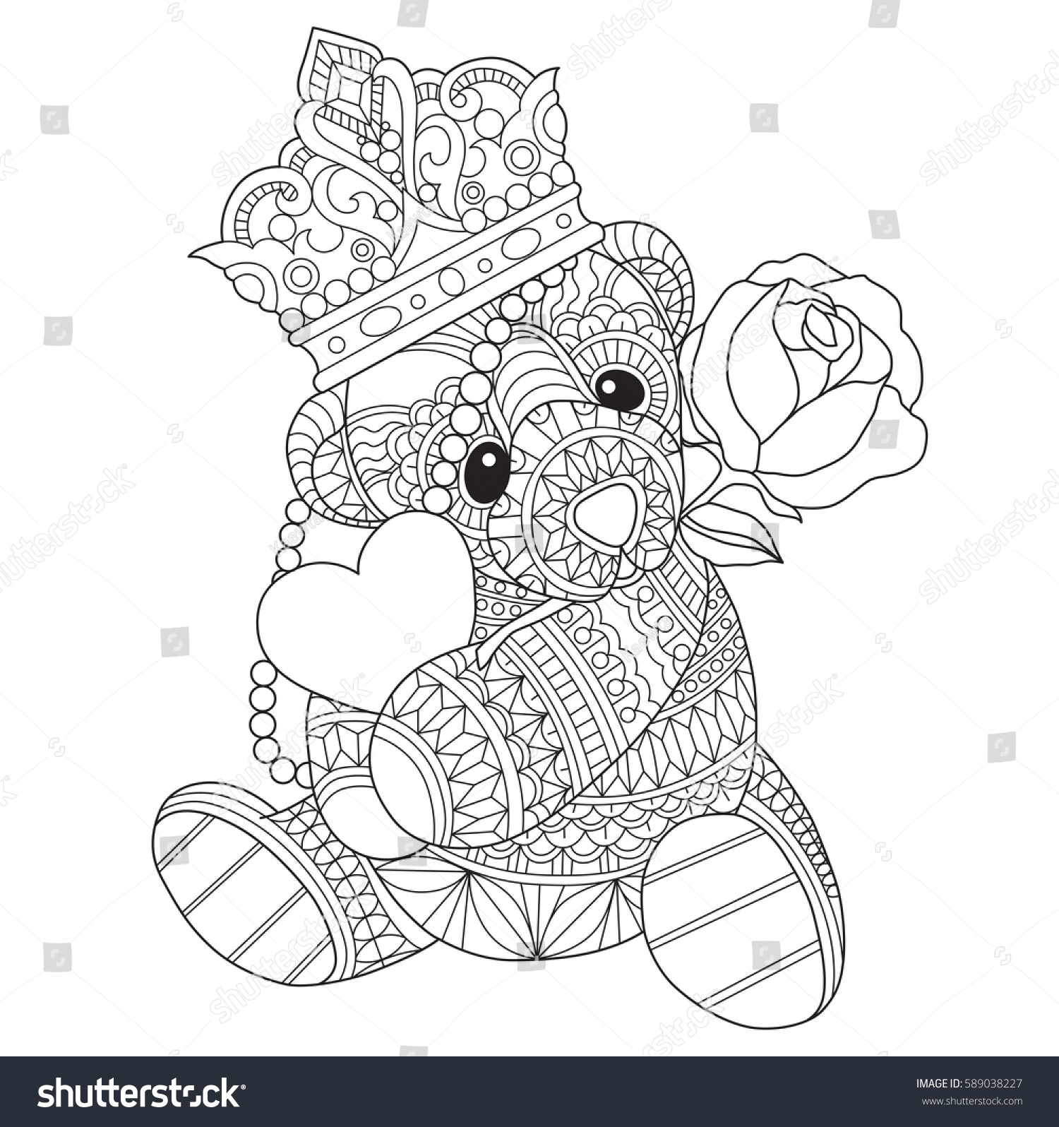 Teddy Bear Hugging Heart Roses Zentangle Stock Vector ...