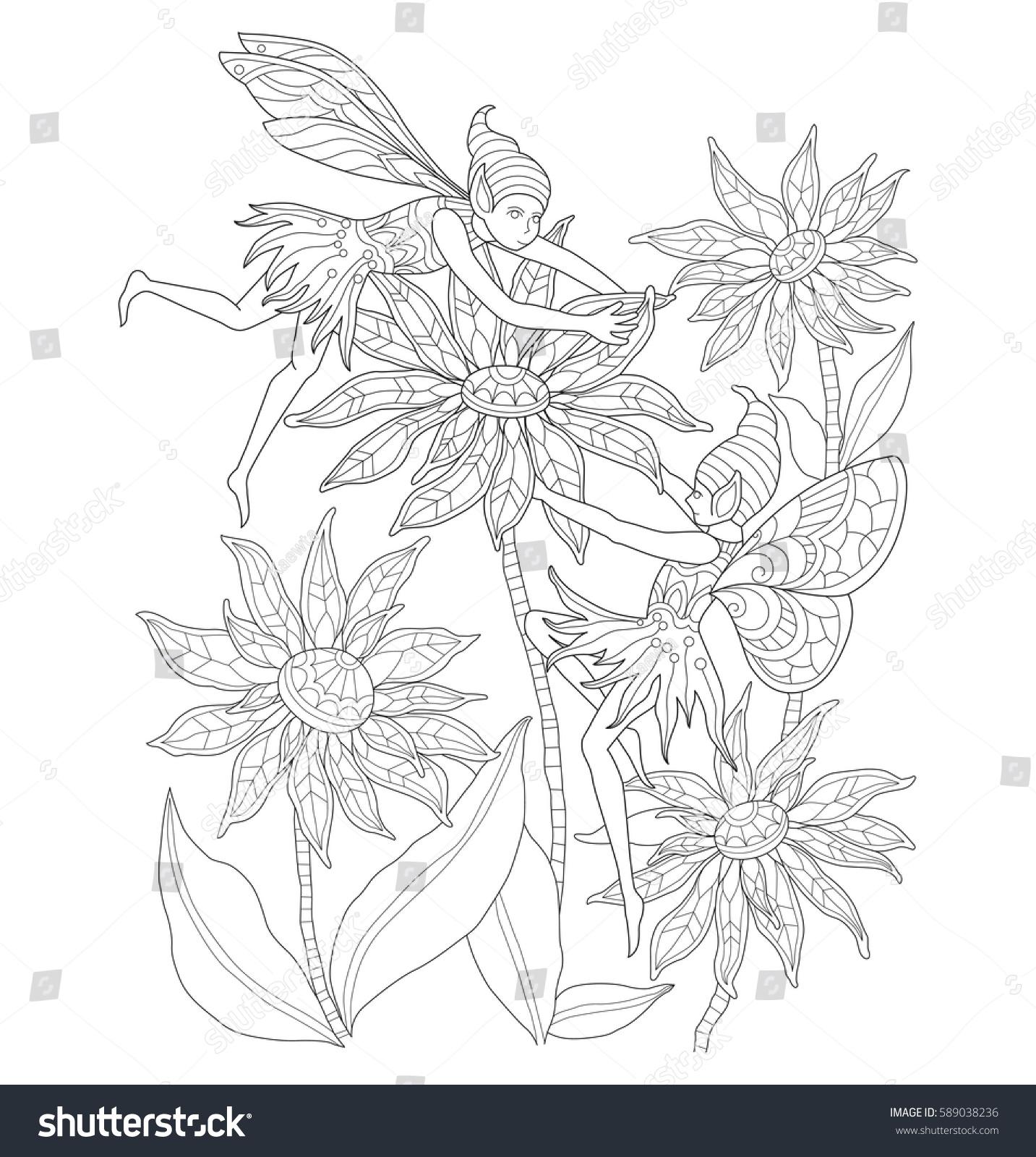 Flower garden sketch - Fairies In The Flower Garden Zentangle Stylized Cartoon Isolated On White Background Hand Drawn