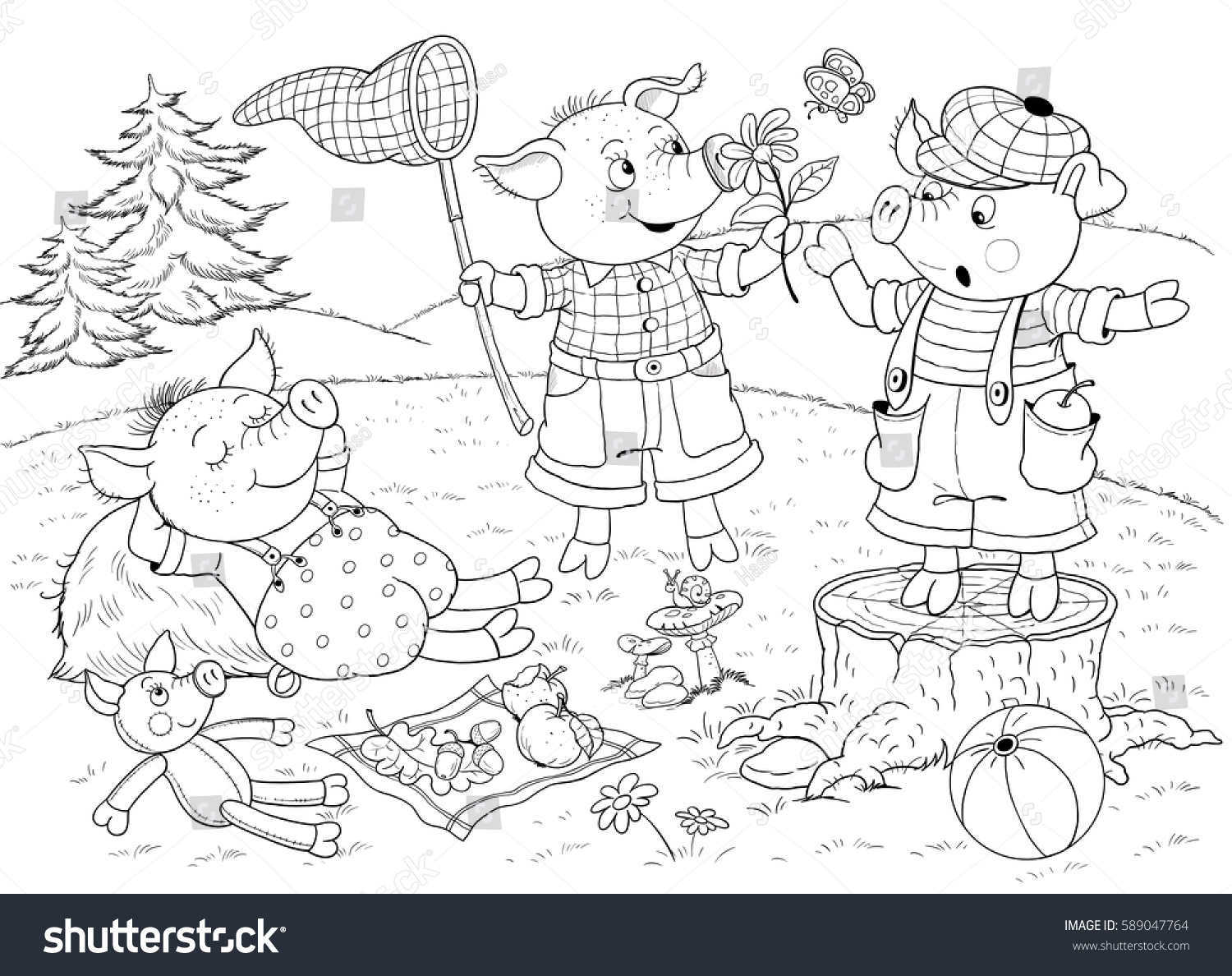 Three Little Pigs Page One Fairy Stock Illustration 589047764 ...