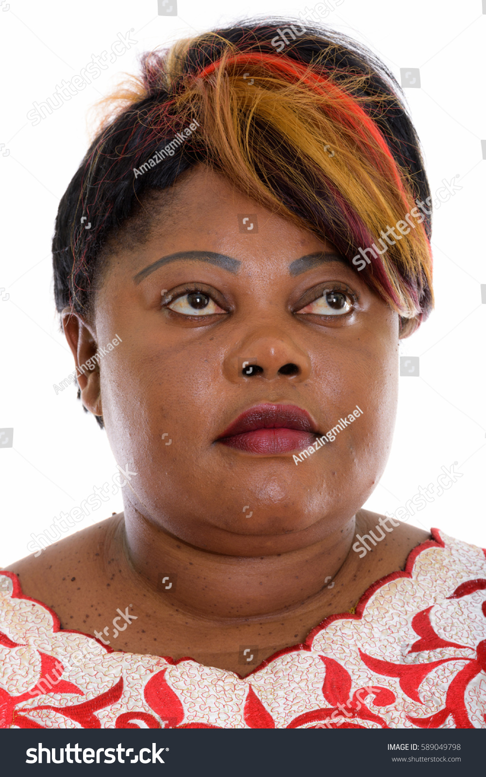 Face Of Fat Black African Woman Thinking While Looking Up