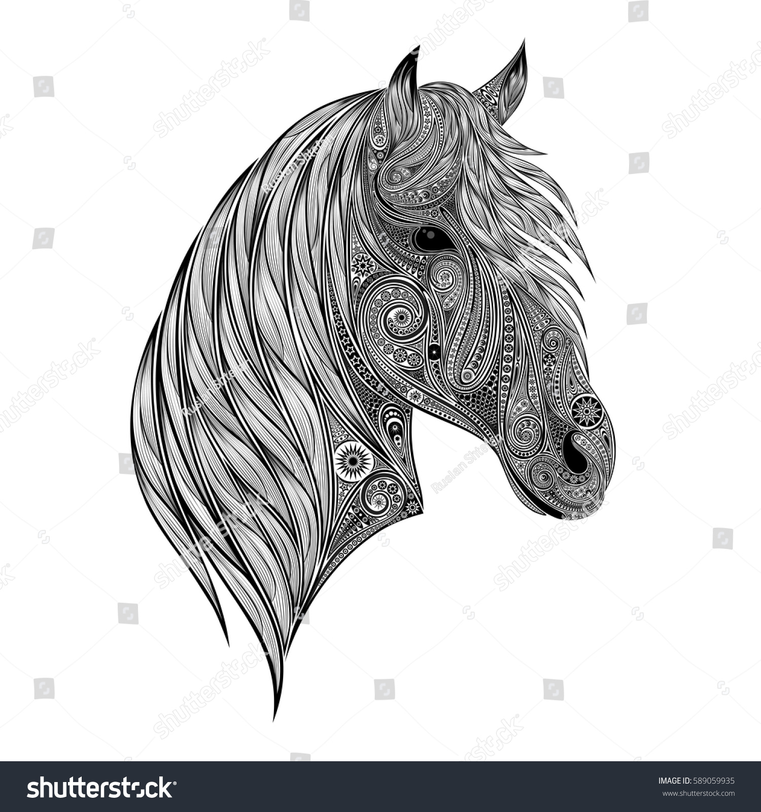 Abstract Vector Silhouette Horse Head Patterns Stock Vector Royalty