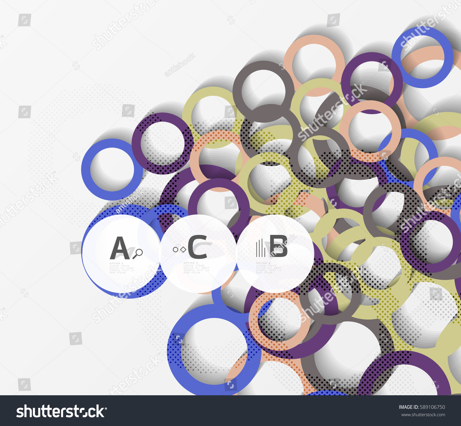 color rings with shadows on gray abstract background vector