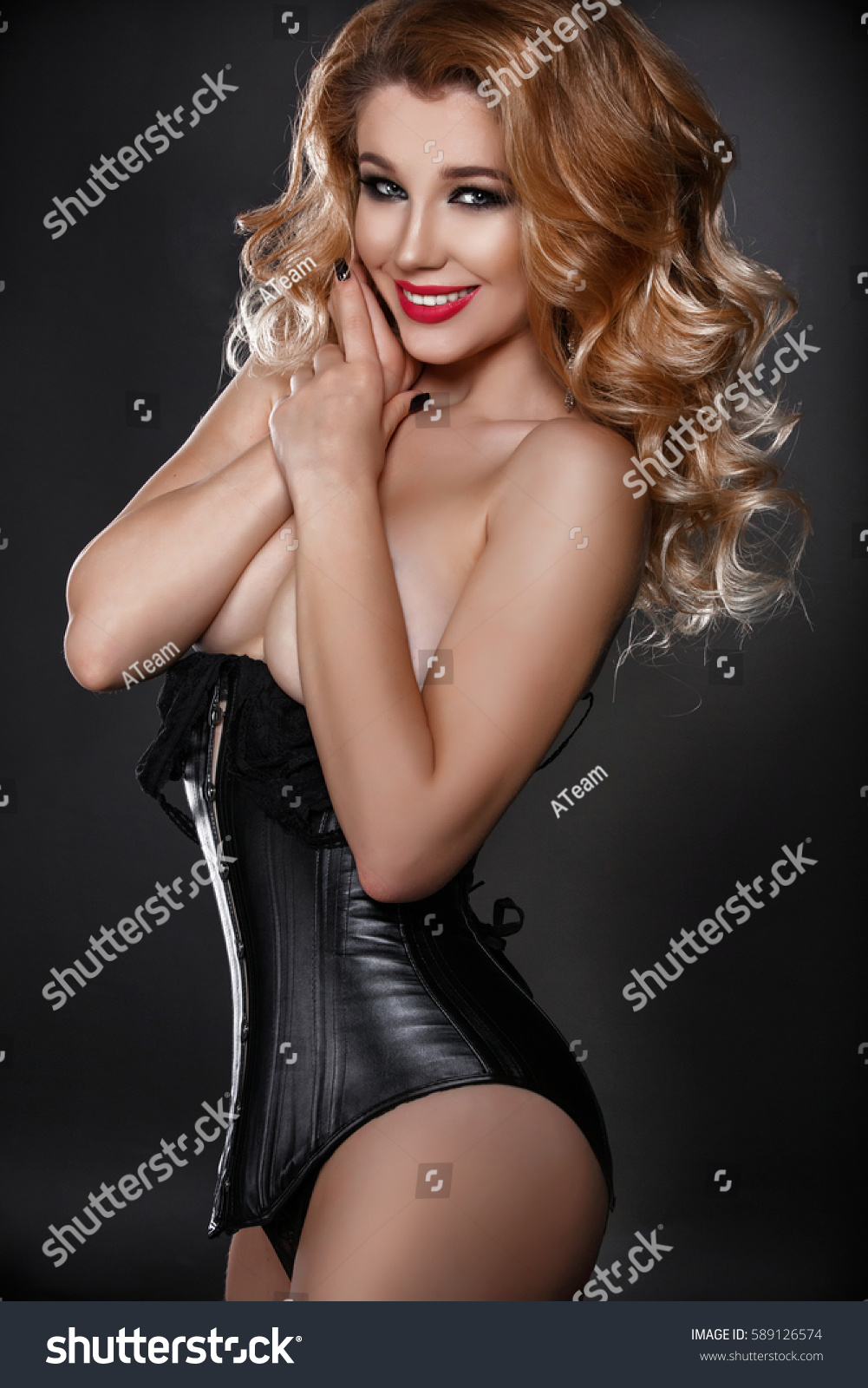 sexy nude blonde woman black lingerie stock photo (royalty free