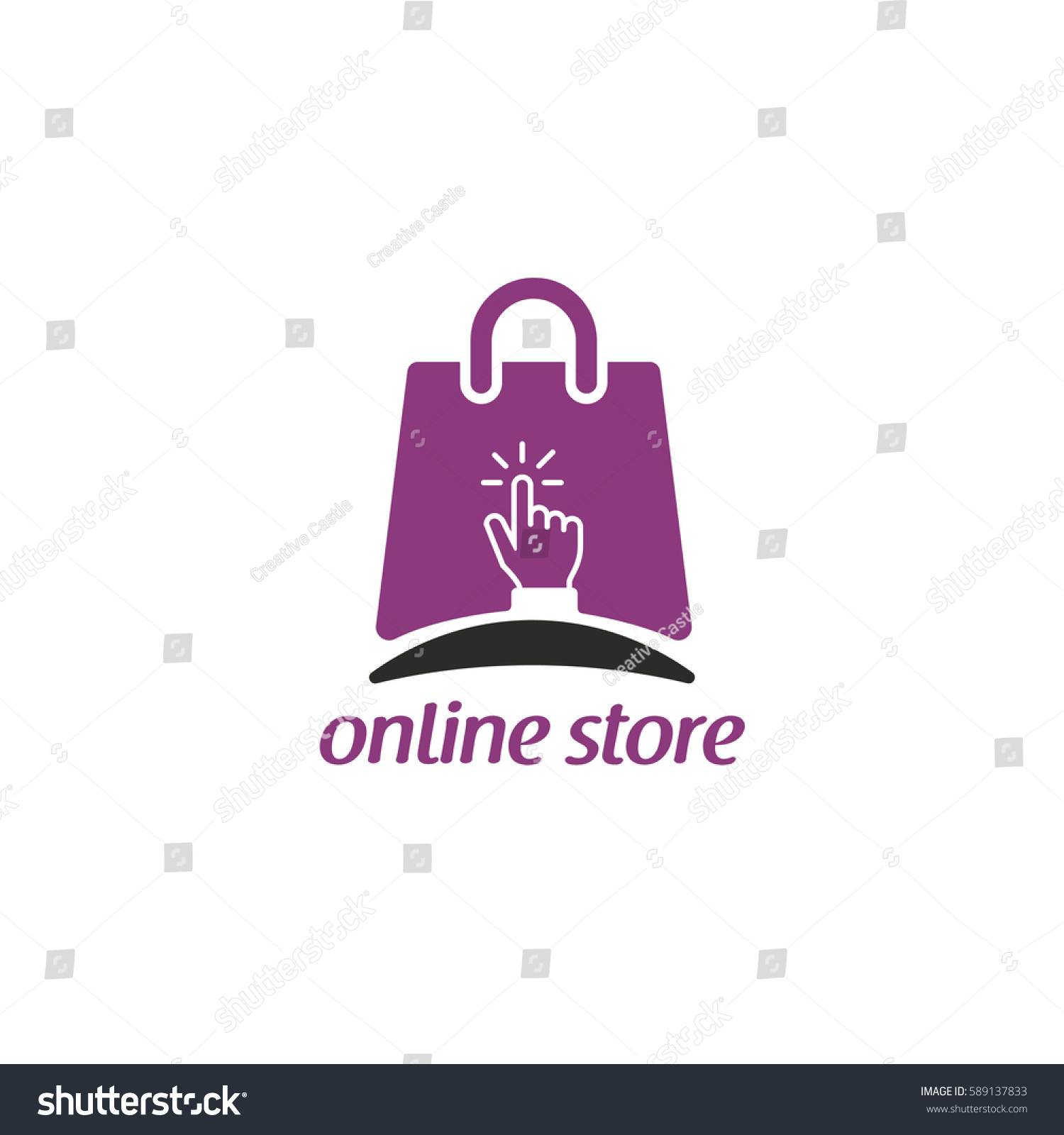 Online Shop Logo Vector Click Store Stock Vector 589137833