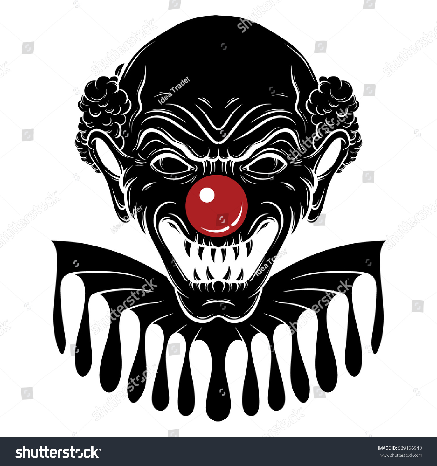 vector hand drawn illustration angry clown stock vector 589156940