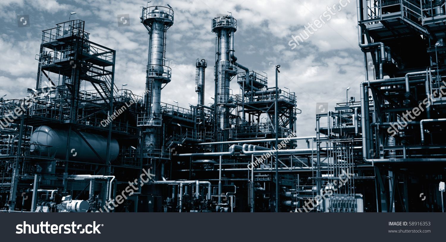 Oil refinery industrial plant duplex toning stock photo