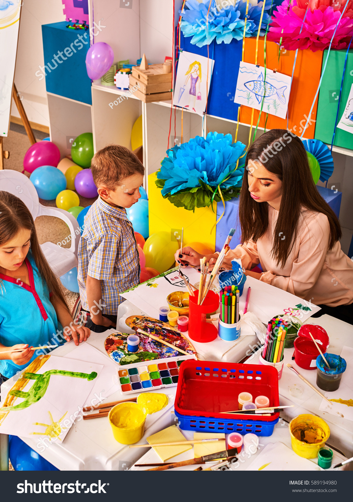 Childrens Paint Brushes Children Painting Drawing Stock Photo ...
