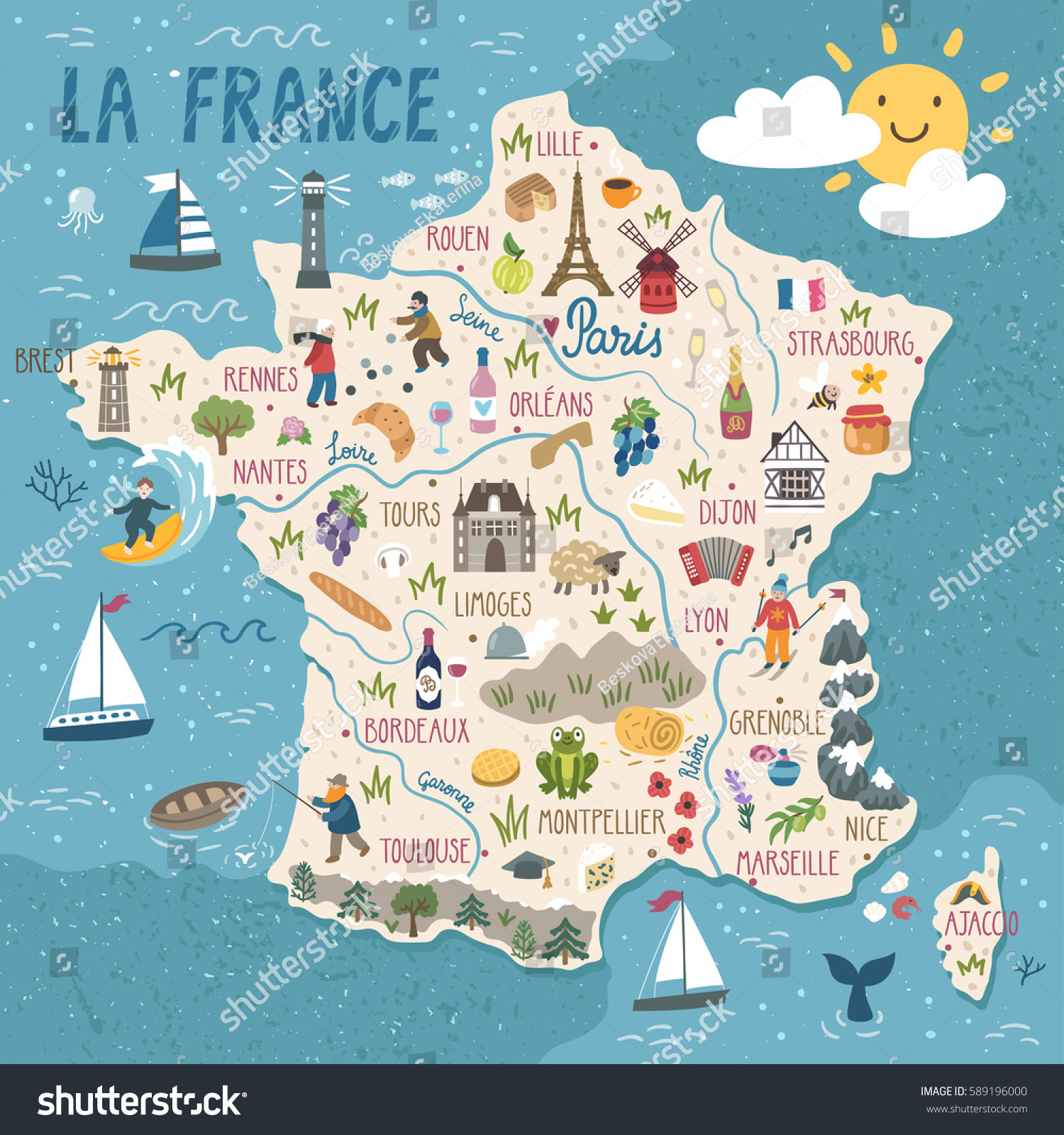 Travel Map Of France.Royalty Free Vector Stylized Map Of France Travel 589196000 Stock