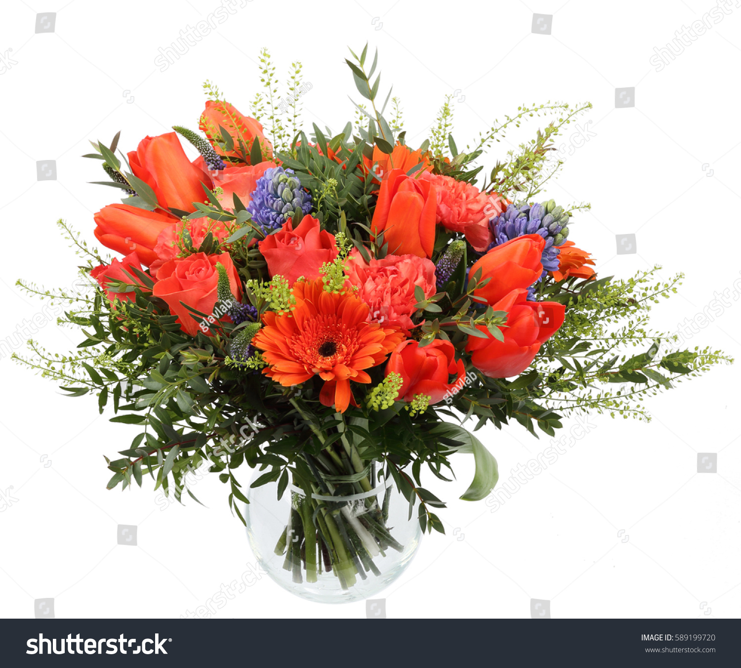 Bright Bouquet Flowers Tulip Gerbera Rose Stock Photo (Safe to Use ...