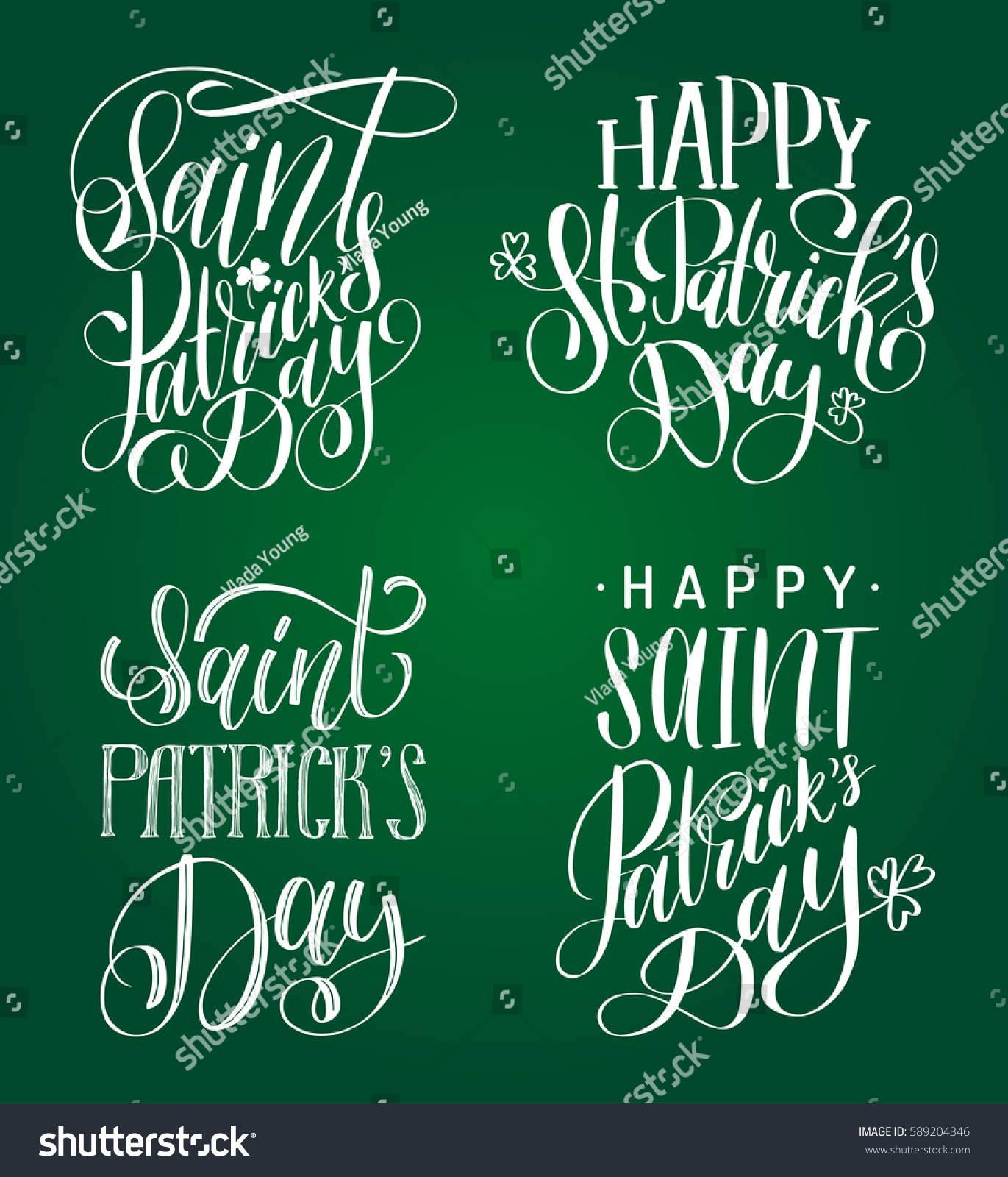 Happy saint patricks day handwritten lettering stock vector happy saint patricks day handwritten lettering set irish holiday calligraphy collection on green background for kristyandbryce Images