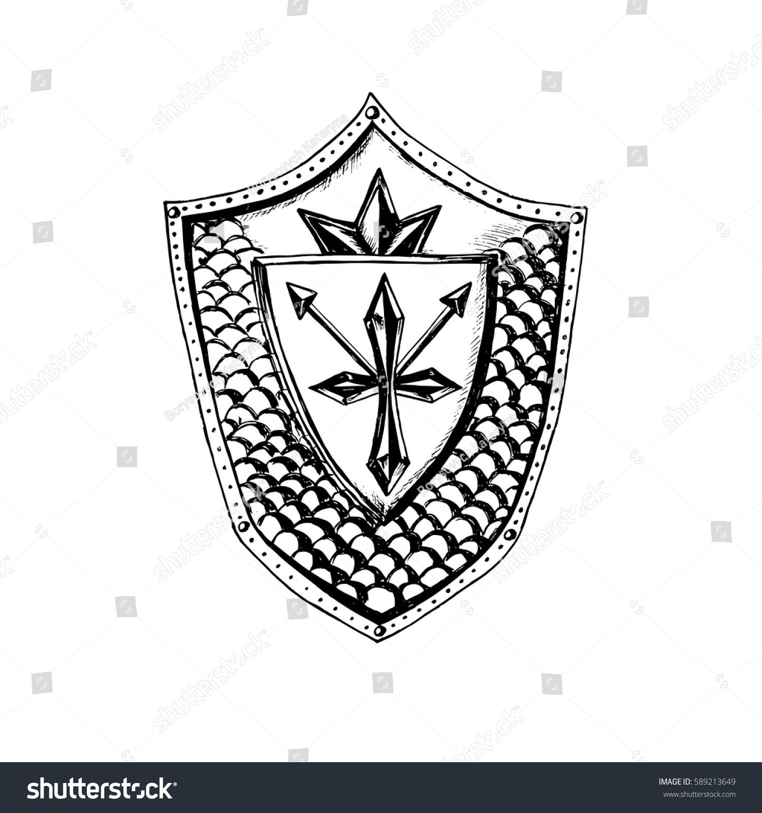 Antique shield cross arrow crownpencil drawingknight stock vector