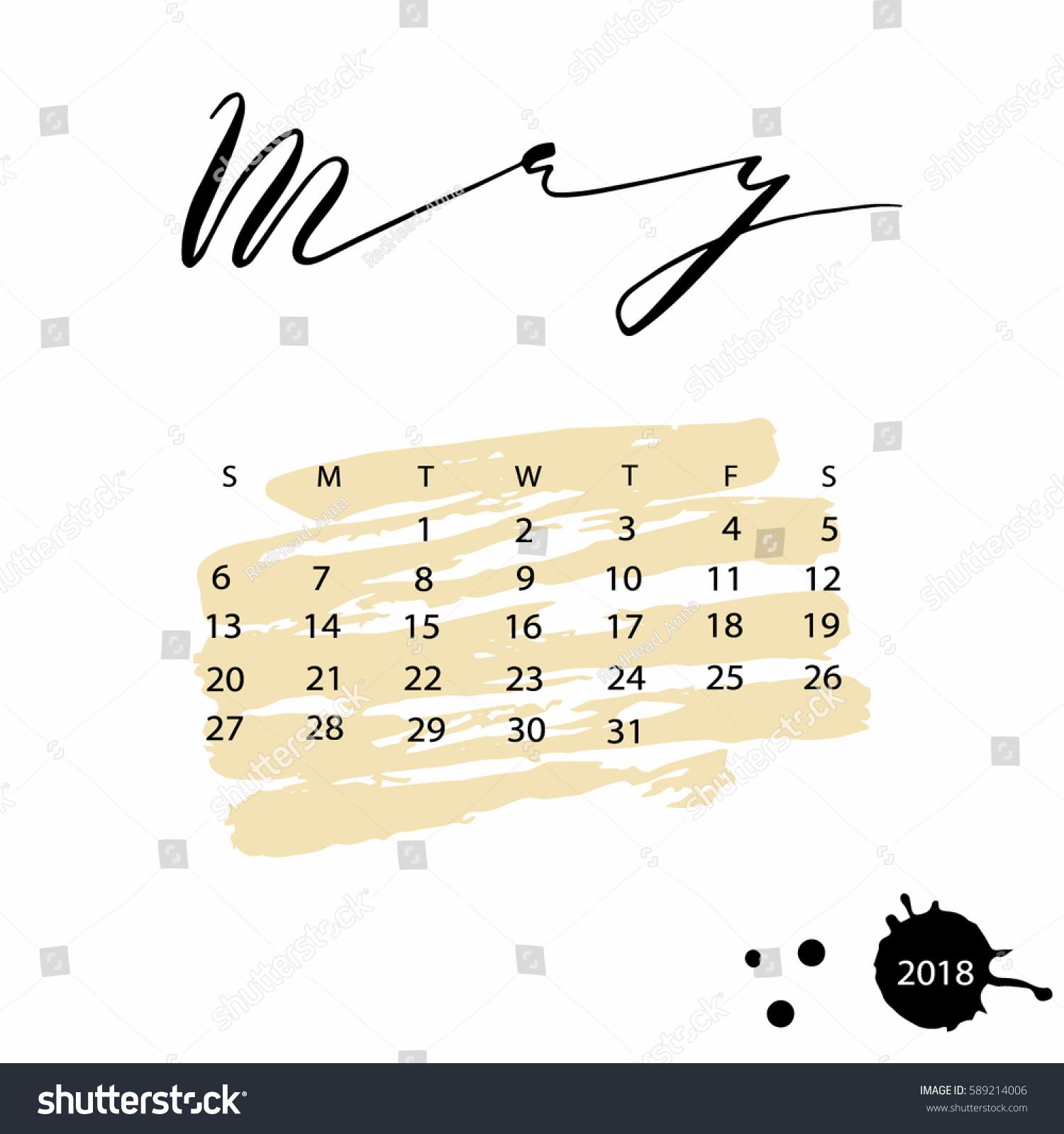 pretty may calendar 2018