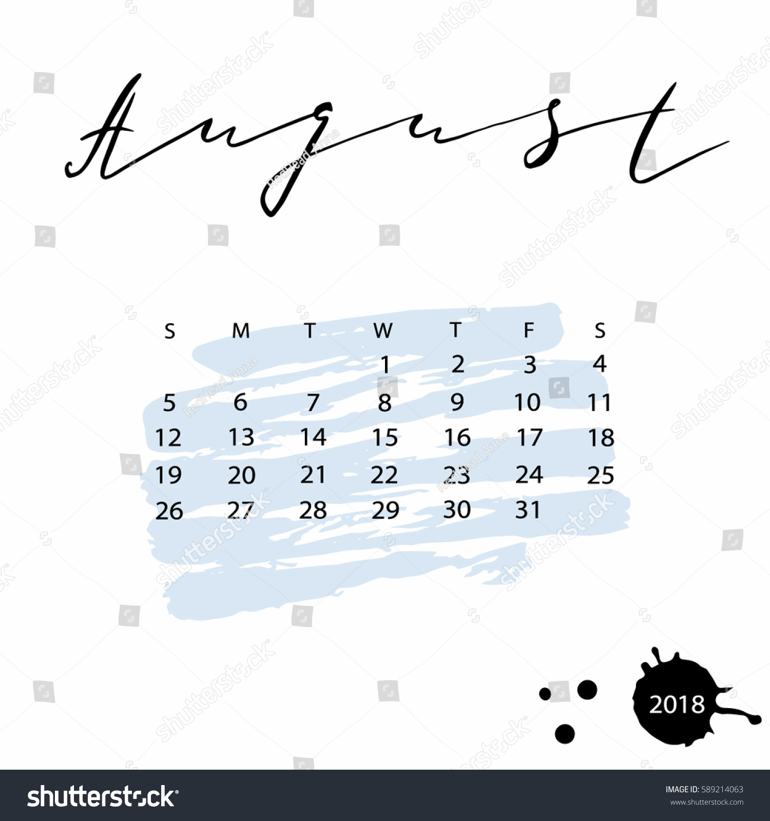 Calendar Design Letters : Vector calendar august hand drawn stock