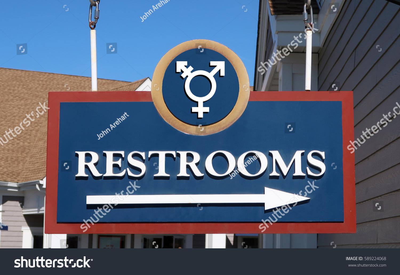 Gender Neutral Bathroom Sign That Says RESTROOMS