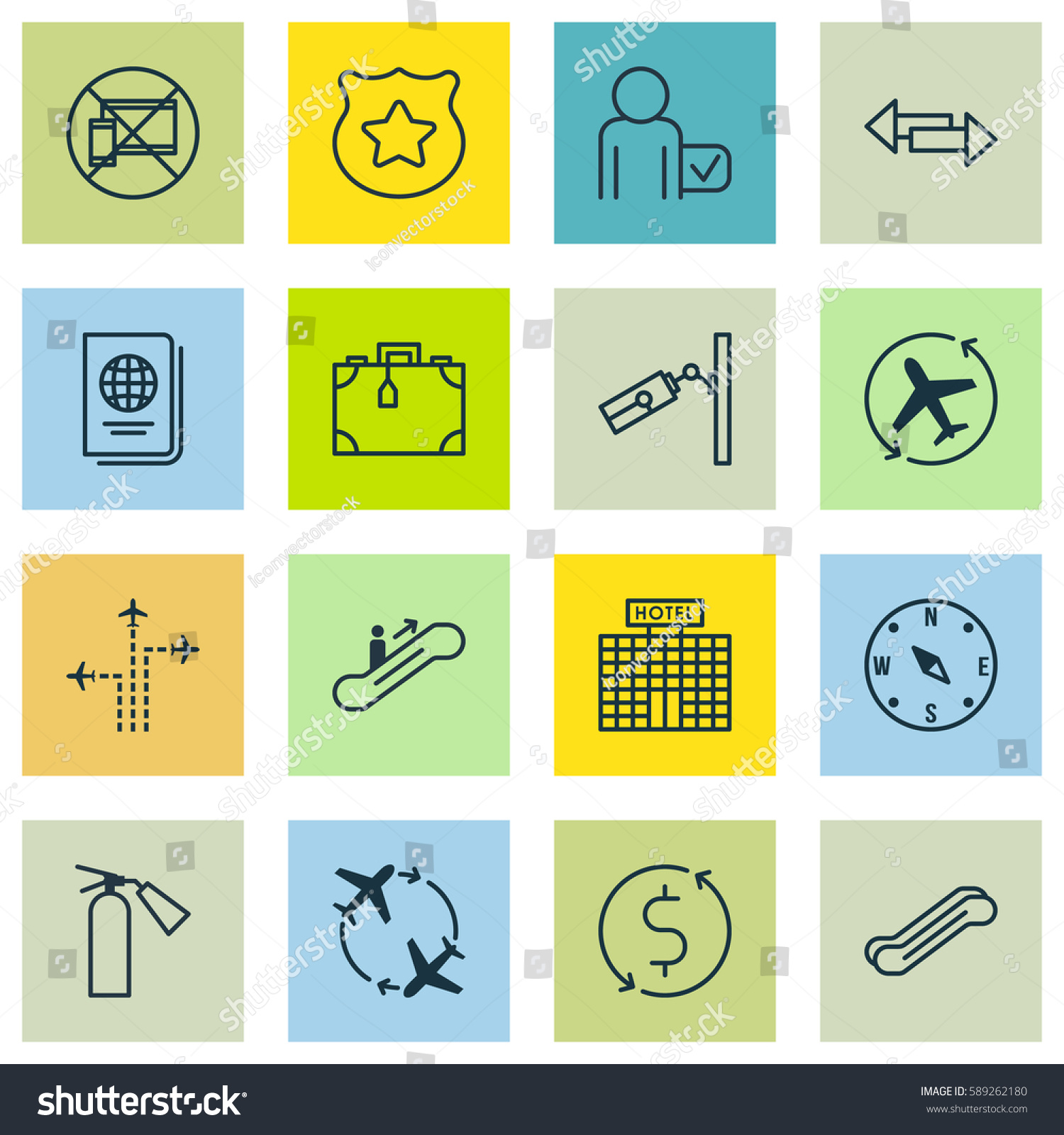 Set 16 Traveling Icons Includes Cop Stock Illustration 589262180