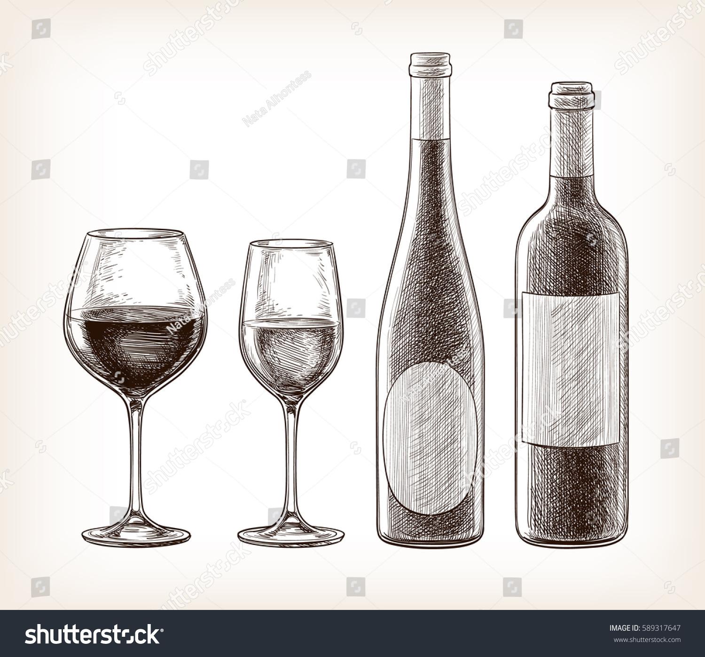 Wine Bottles Glasses Isolated On White Stock Vector