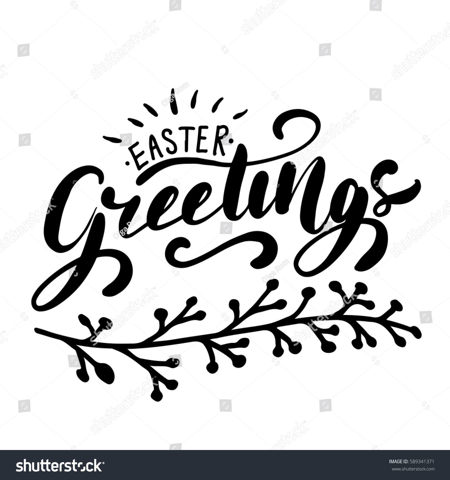 Easter Holiday Celebration Easter Greetings Handwriting Stock Vector