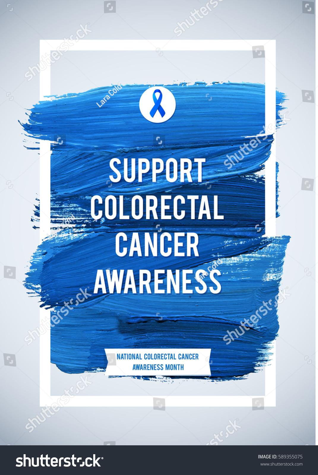 Colo Rectal Cancer Awareness Creative Grey Stock Vector Royalty