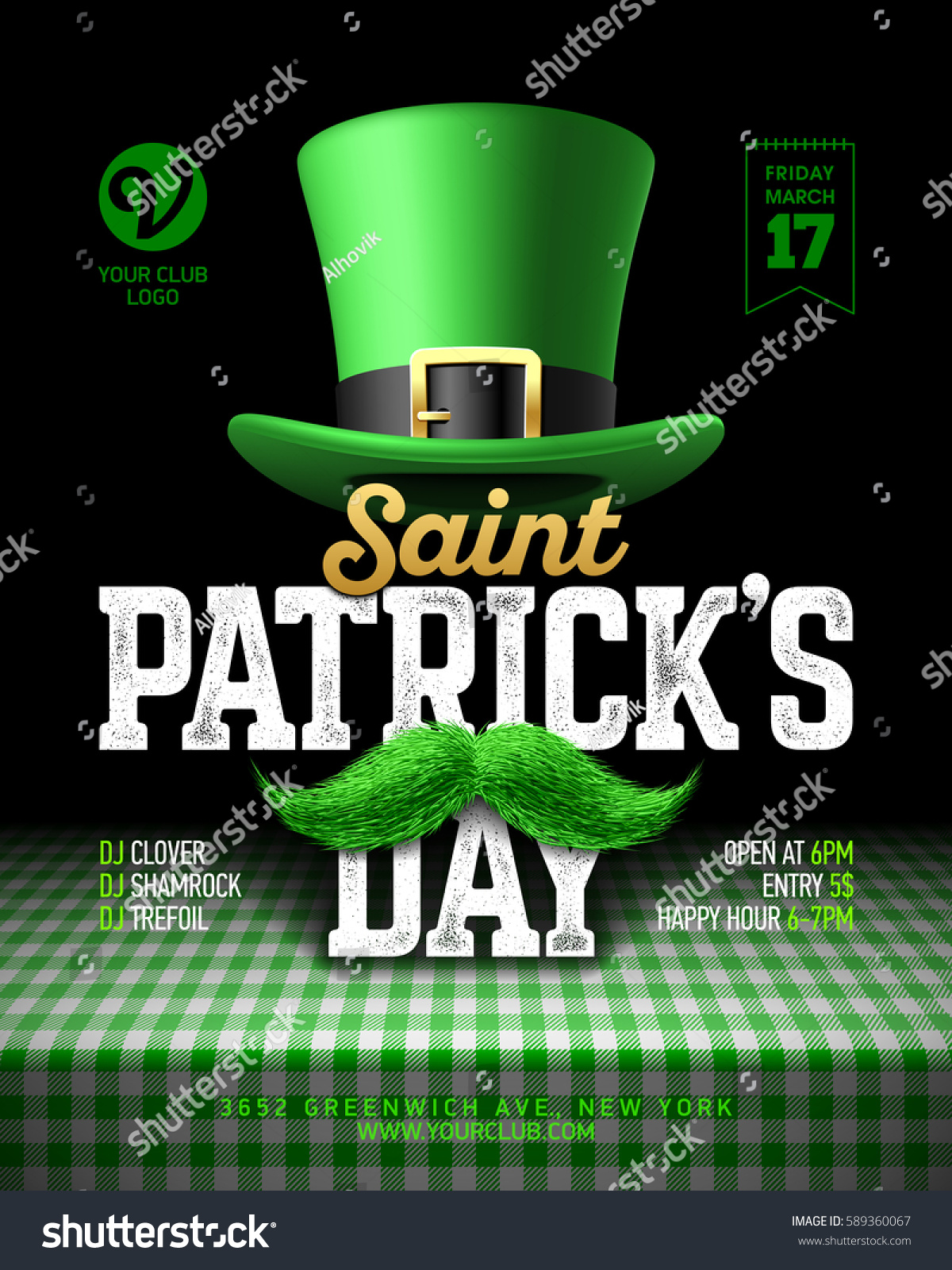 Saint Patricks Day Party Poster Design Stock Vector 589360067 ...