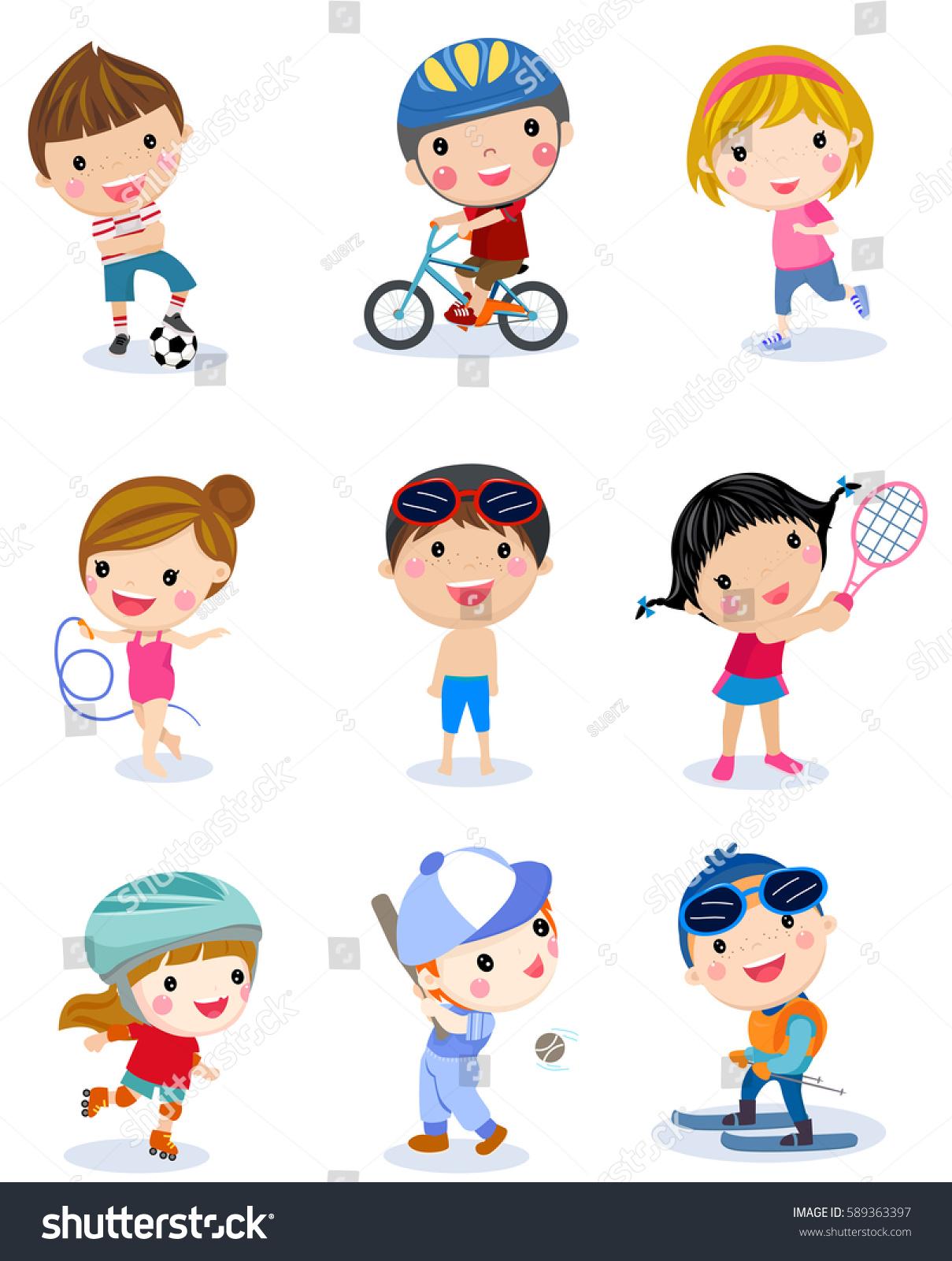 group sport boys girls stock vector 589363397 shutterstock