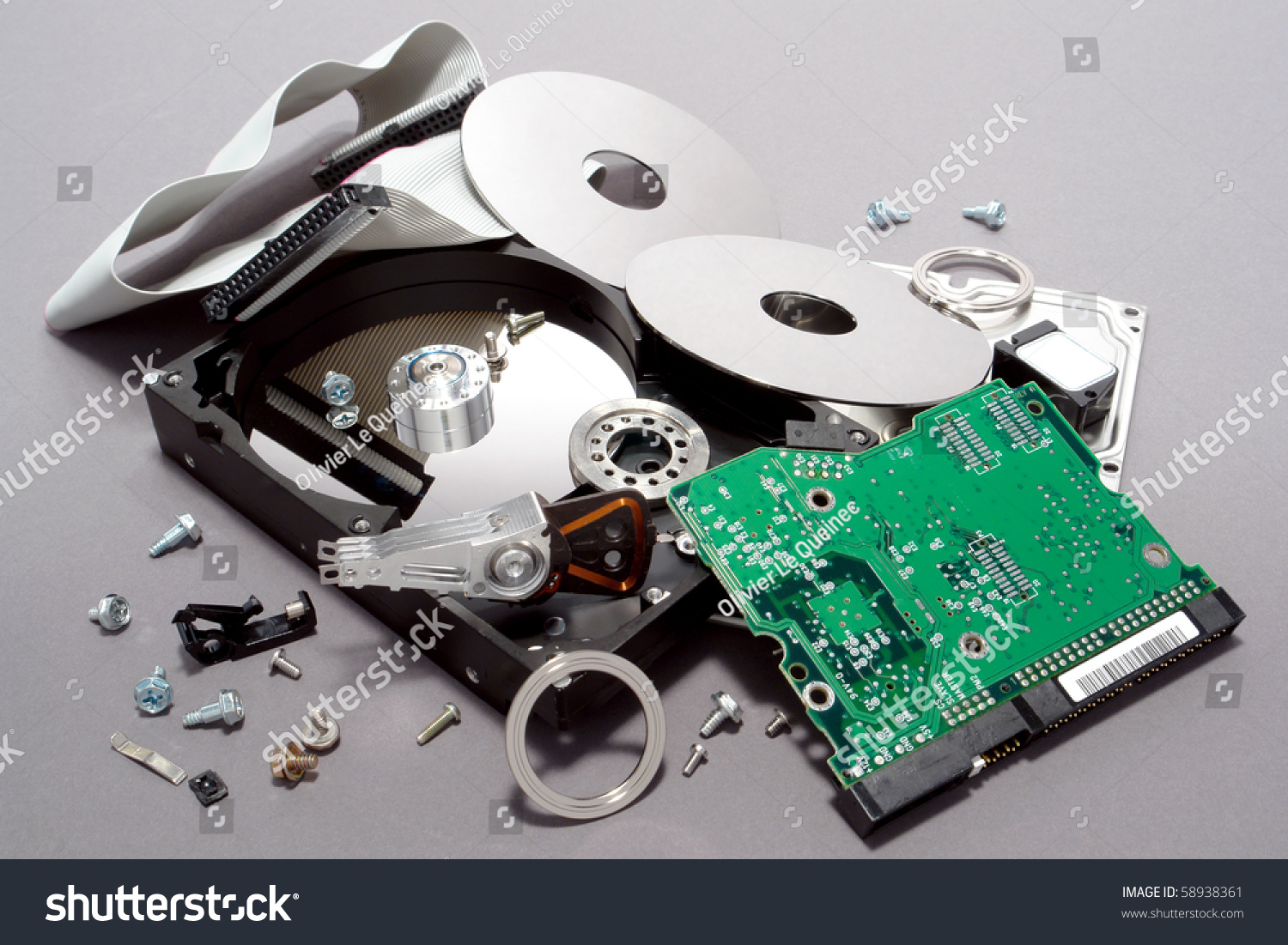 Crashed Broken Apart Dismantled Computer Hard Stock Photo Edit Now Circuitry Of An Electronic Calculator Royalty Free Photography And Drive With Scattered Component Parts Showing Loose Disks