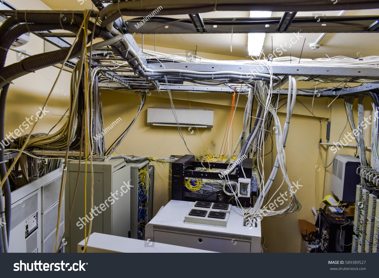 Set Wires Cables Intertwined Data Center Stock Photo Edit Now Wiring A Of And In Server Room Top View
