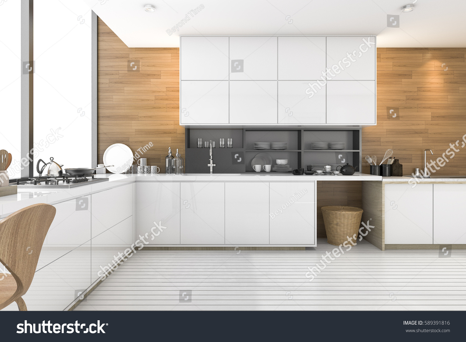 3 D Rendering Nice Wood Kitchen Loft Stock Illustration 589391816 ...