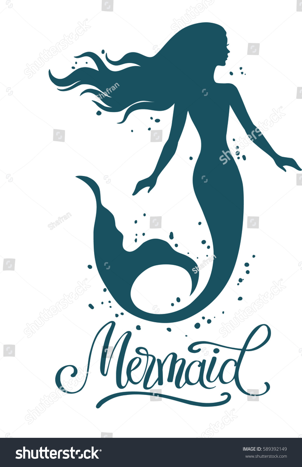 Hand painted mermaid watercolor vector silhouette stock vector - Mermaid Hand Drawn Vector Silhouette Illustration Isolated On White Background