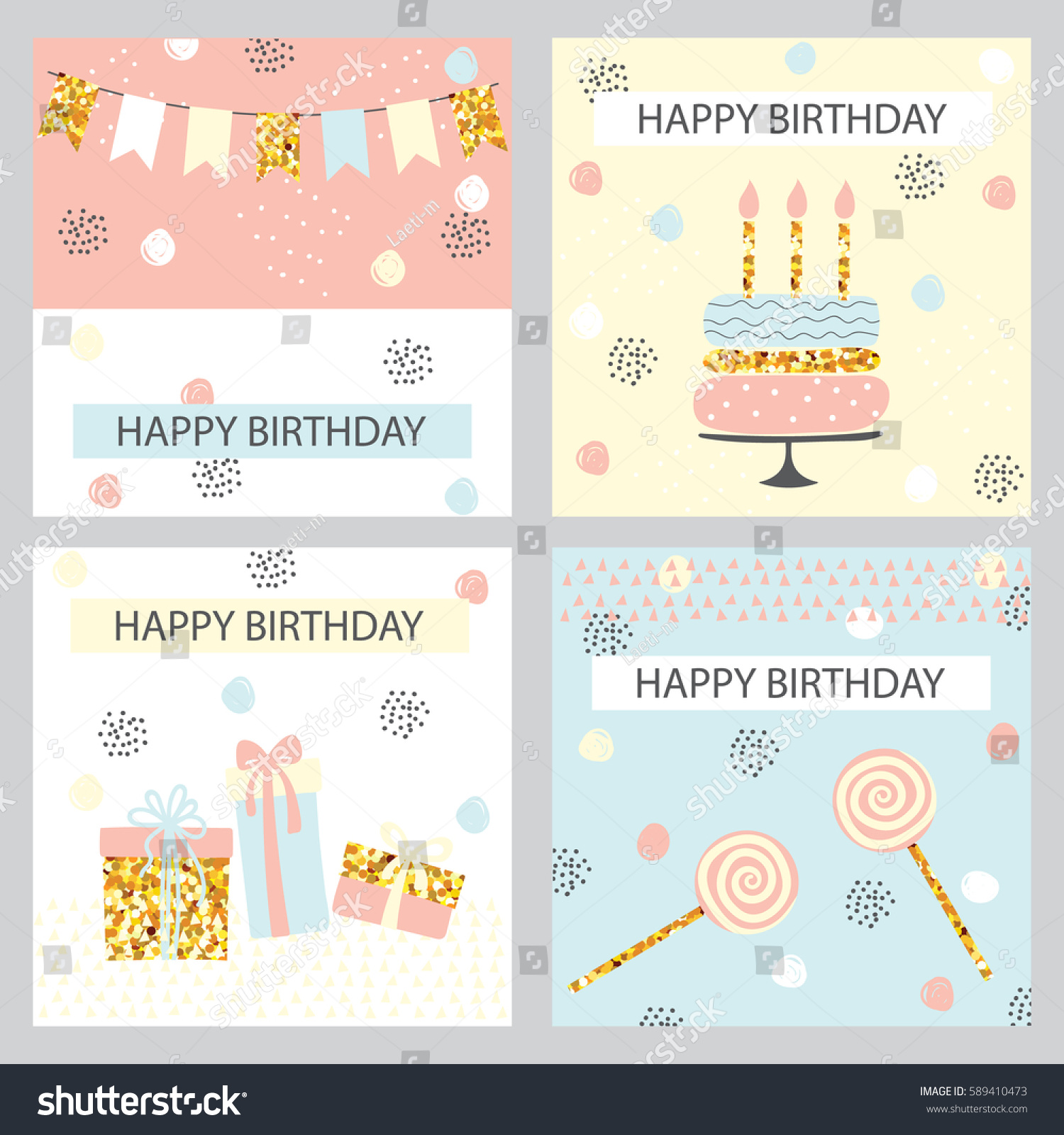Set Of Happy Birthday Card With Golden Sparkle Cake Garland And