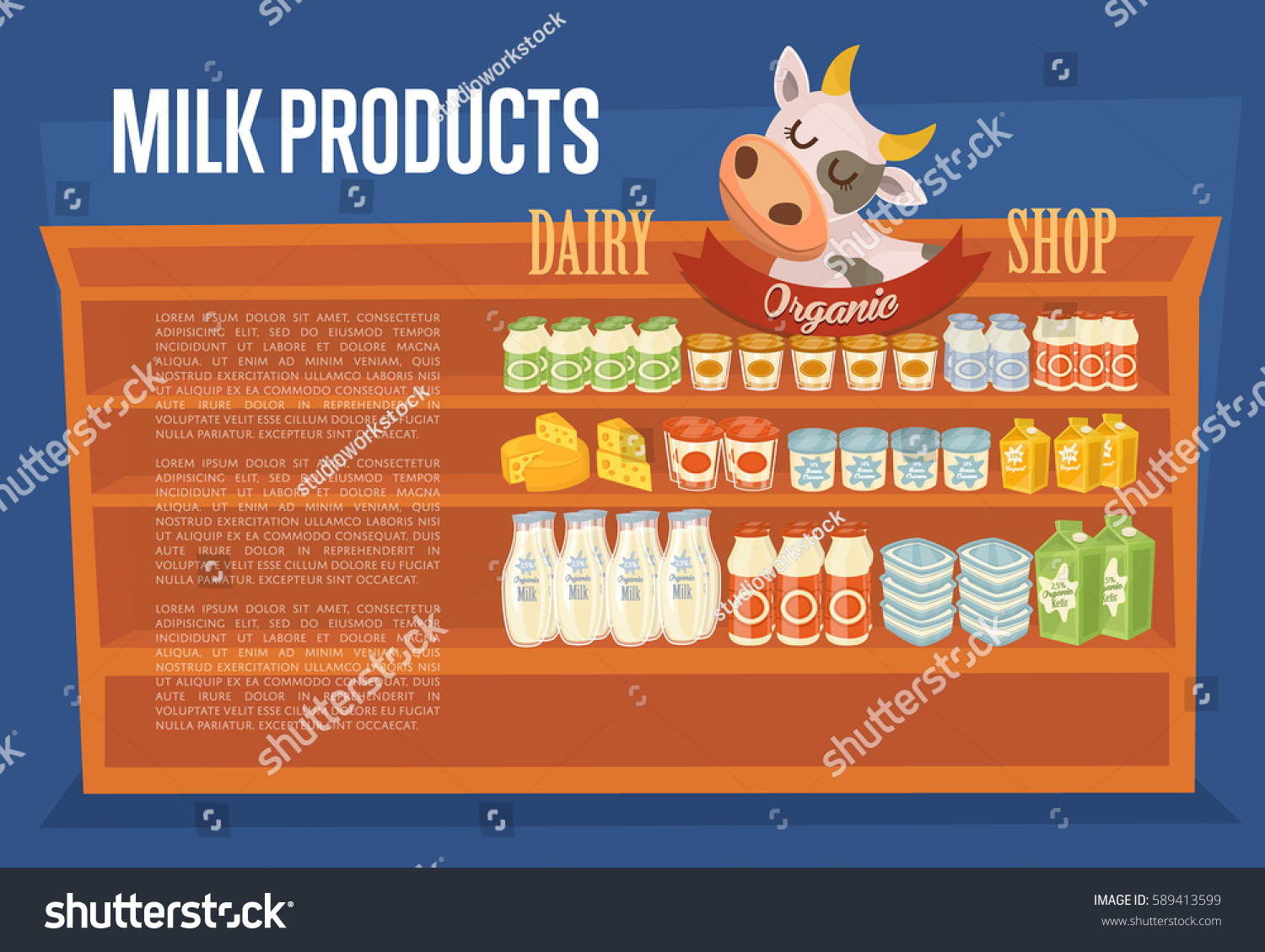 Dairy products banner cow symbol supermarket stock vector dairy products banner with cow symbol supermarket shelves with cheese kefir milk buycottarizona
