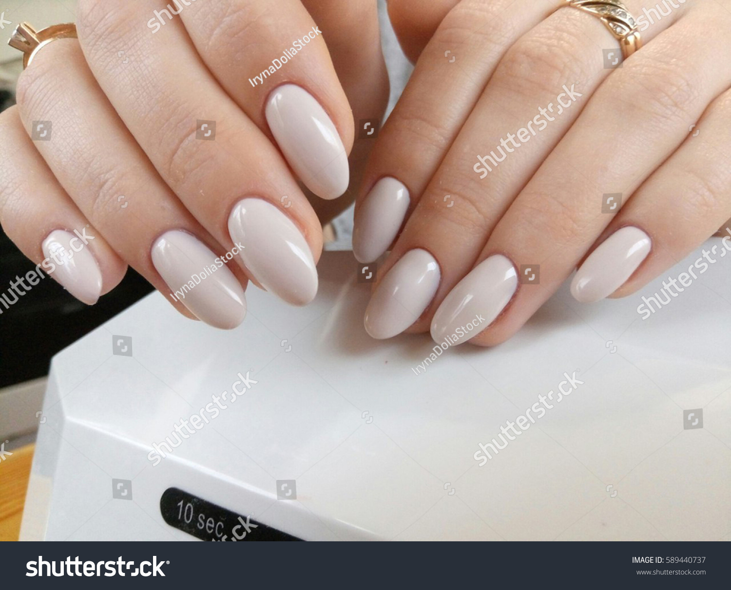 Almondshaped Nails Beige Lacquer Stock Photo (Royalty Free ...