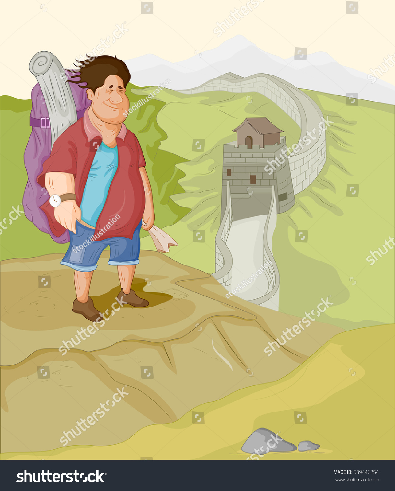 Tourist Traveling Great Wall China Vector Stock Vector 589446254 ...