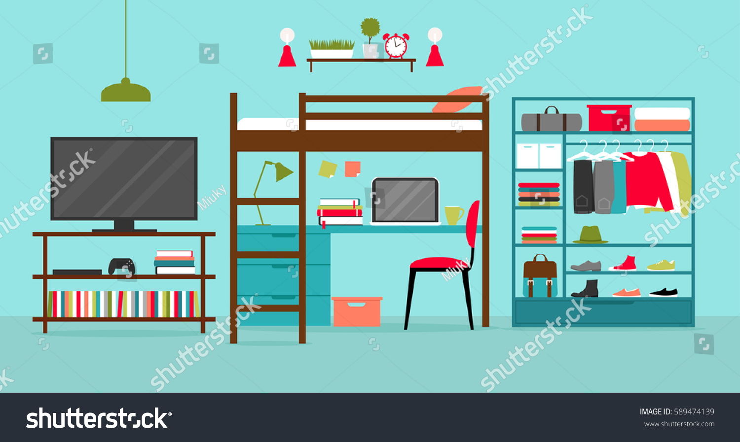 Vector room interior young man flat stock vector 589474139 for Room design vector