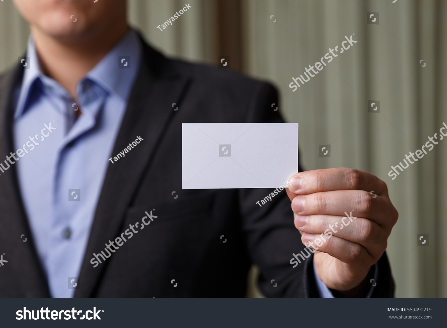 Businessman Holding Visit Card Man Showing Stock Photo (Download Now ...