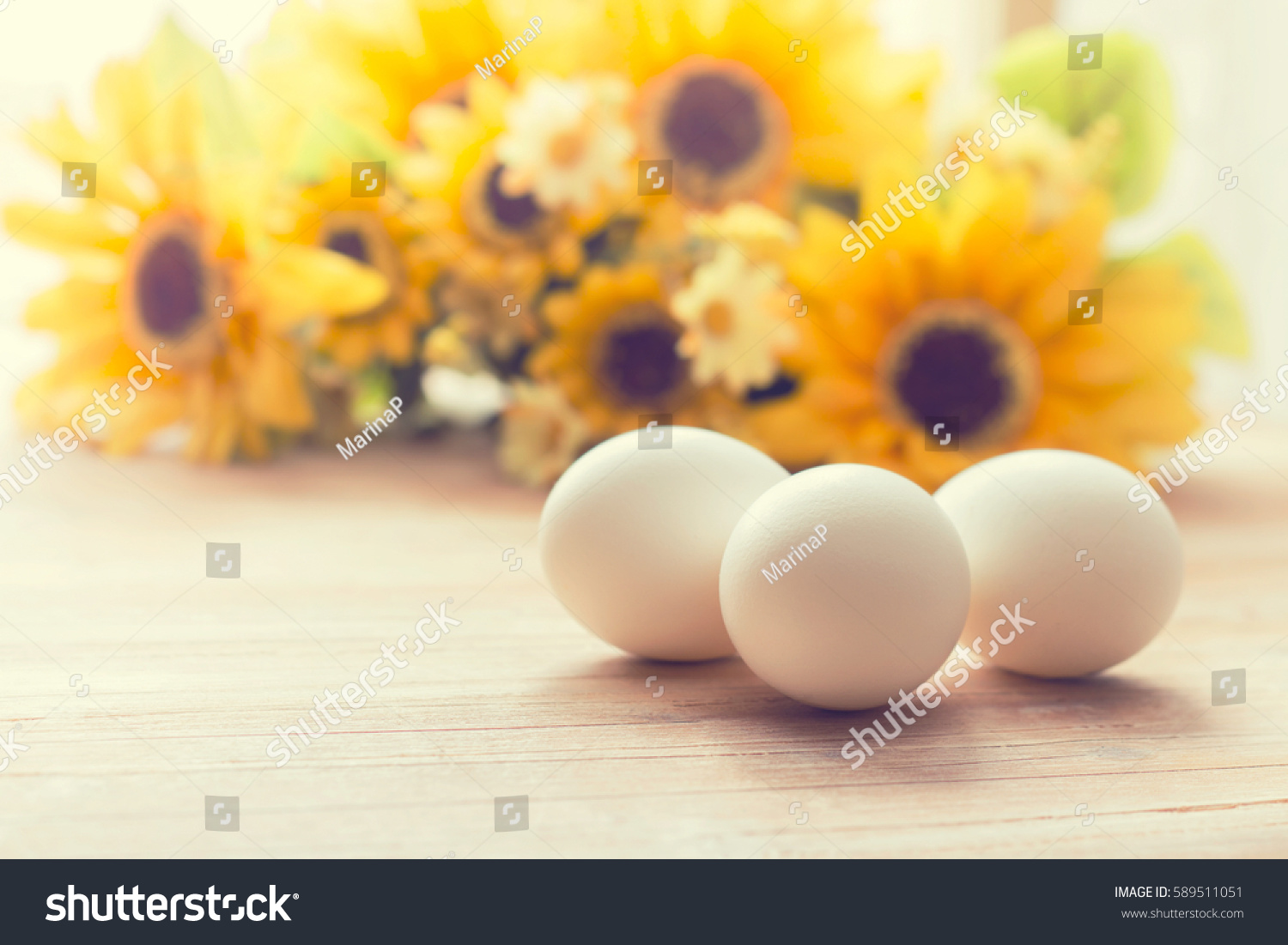 White Eggs Bright Yellow Flowers Background Stock Photo Edit Now