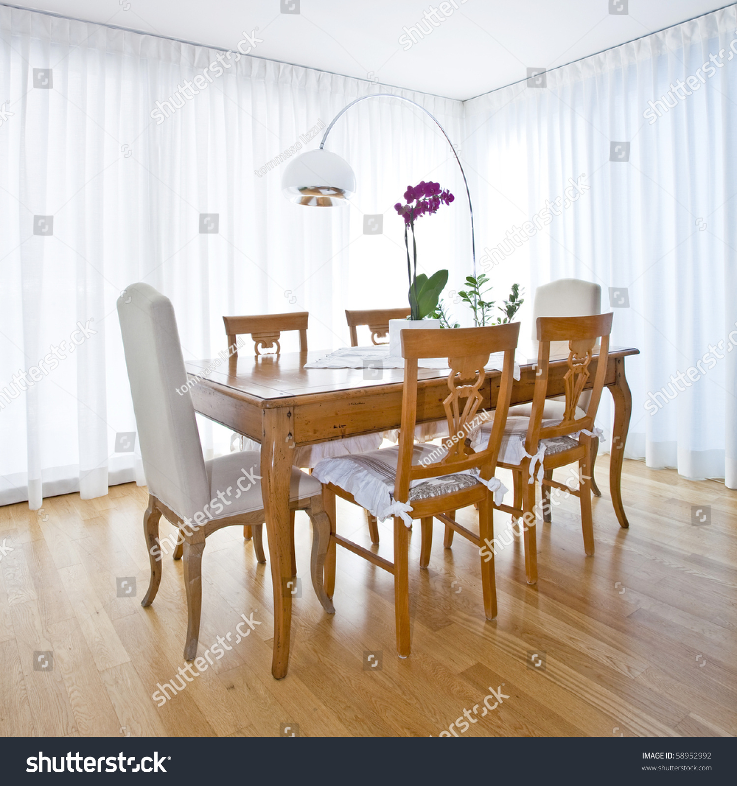 Modern Dining Room White Curtains Stock Photo 58952992