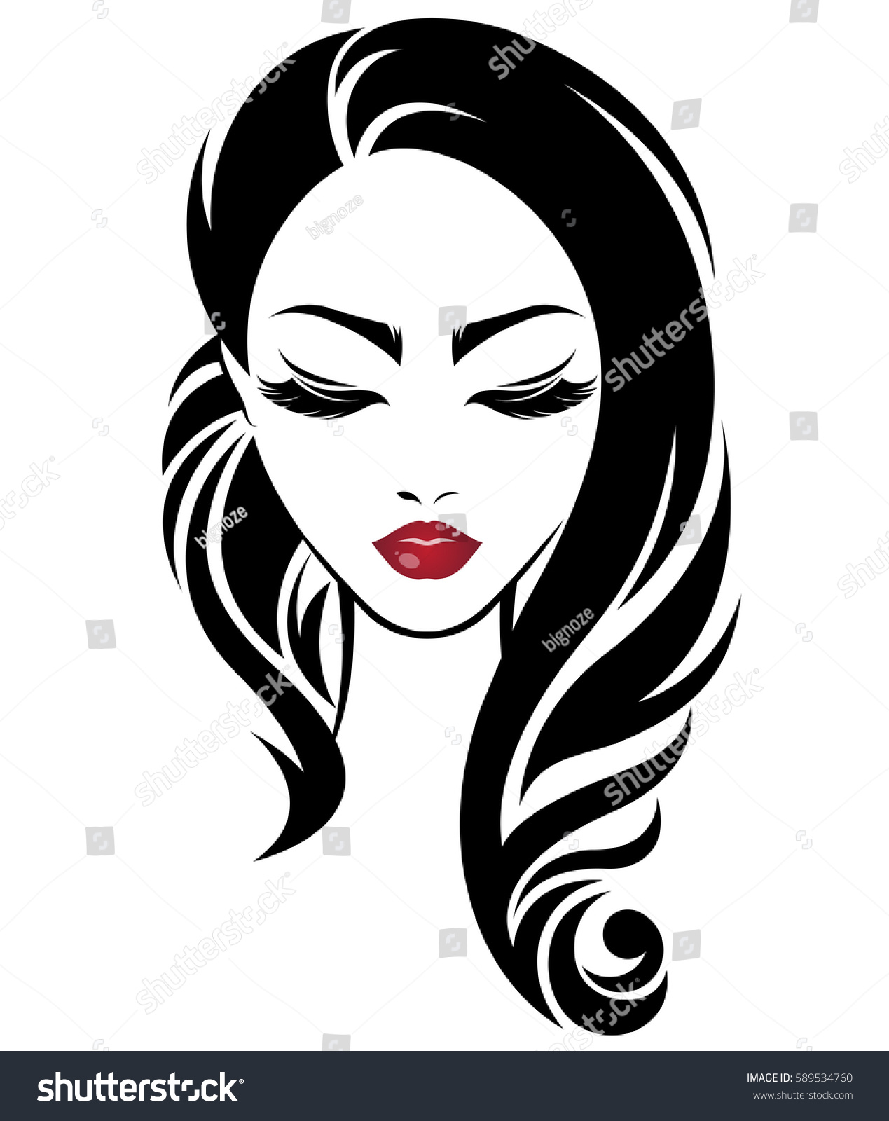 Illustration Of Women Long Hair Style Icon Logo Women Face On White