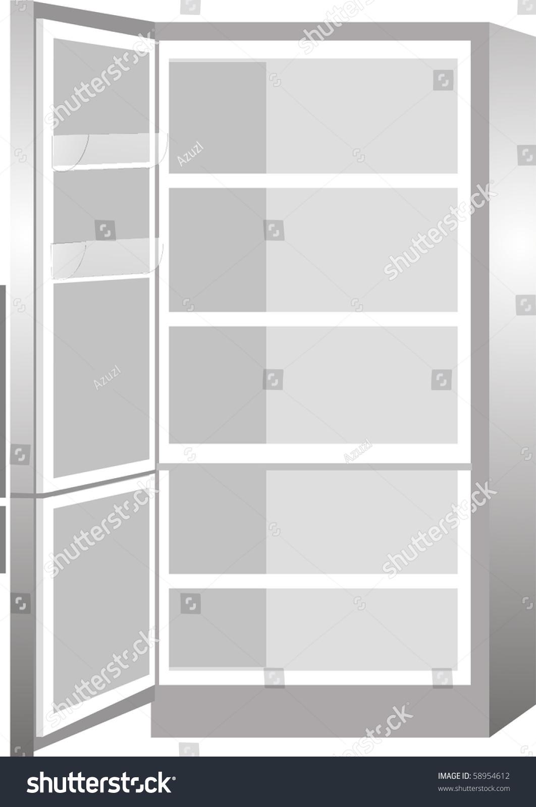 New Empty Refrigerator Door Open Isolated Stock Vector ...