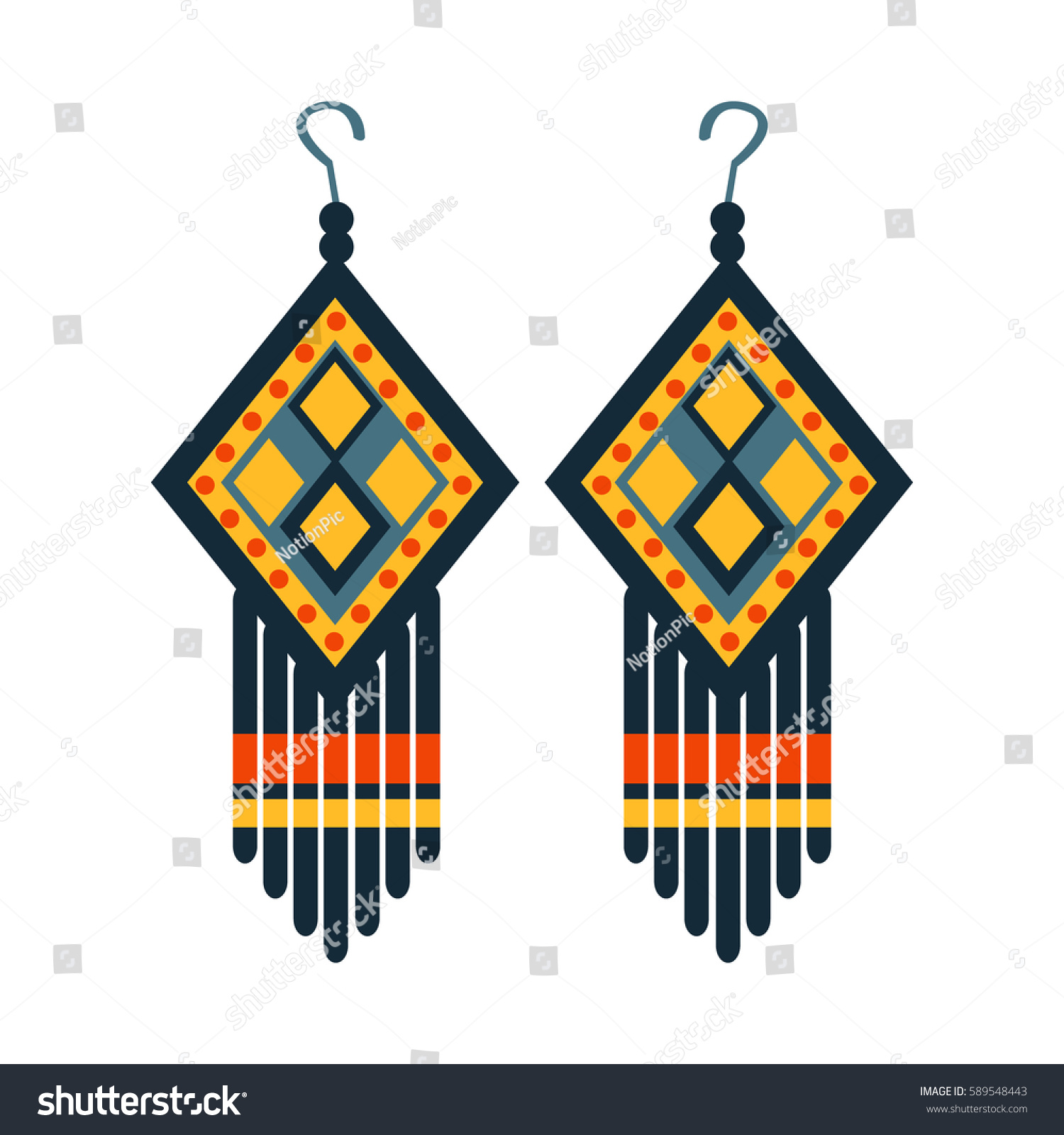 Jewelry Earrings Woman Native American Indian Stock Vector Royalty