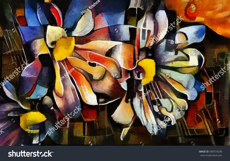 Bouquet Beautiful Flowers Modern Style Cubism Stock Illustration